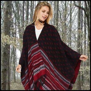 Sweaters - Geometric Print Red and Black Poncho